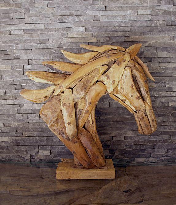 holzskulptur holzkunst treibholz teak statue deko holzobjekt pferde b ste ho1087 ebay. Black Bedroom Furniture Sets. Home Design Ideas