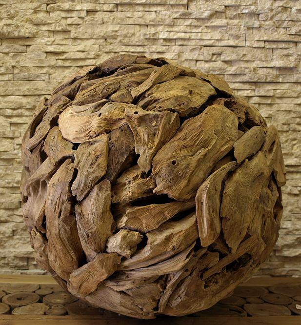 teak holz skulptur treibholz ball kugel kunst statue deko holzobjekt 50cm ho1395 ebay. Black Bedroom Furniture Sets. Home Design Ideas