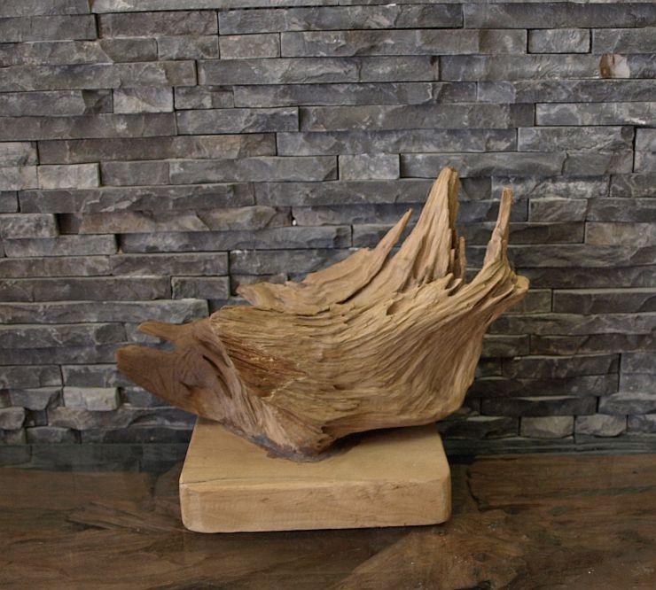 holzskulptur teak wurzel holz treibholz kunst statue deko holzobjekt ebay. Black Bedroom Furniture Sets. Home Design Ideas