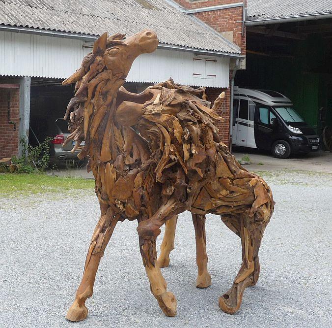 teak alt holz wurzel pferd l we skulptur objekt aufsteller kunst deko ebay. Black Bedroom Furniture Sets. Home Design Ideas