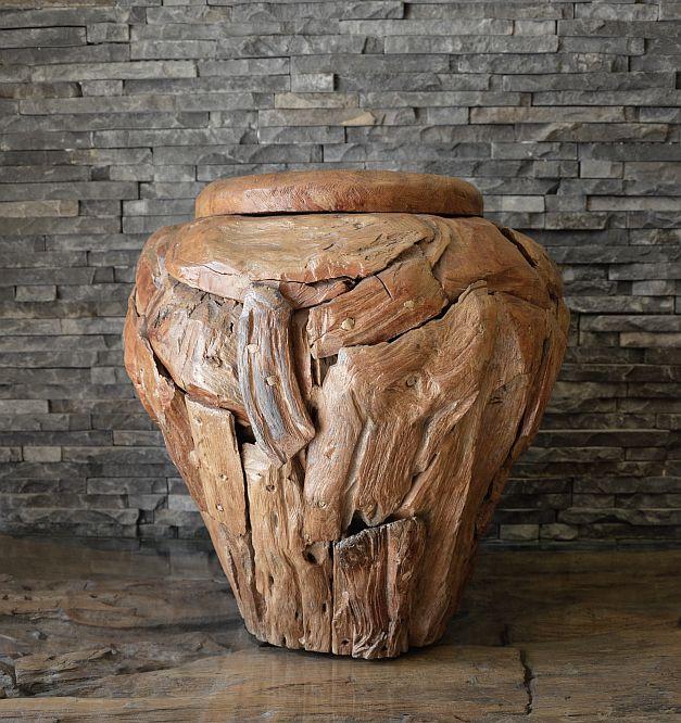 teak wurzel holz treibholz bodenvase kunst deko holzobjekt 40x40cm ebay. Black Bedroom Furniture Sets. Home Design Ideas