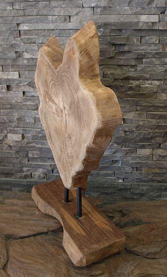 holzskulptur baumscheibe teakholzdeko holzkunst holzobjekt ebay. Black Bedroom Furniture Sets. Home Design Ideas