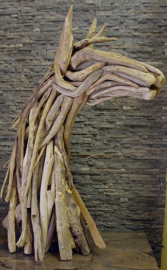 holzskulptur holzkunst treibholz statue teak deko holzobjekt pferde b ste ebay. Black Bedroom Furniture Sets. Home Design Ideas