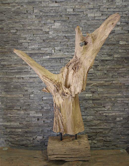 holzskulptur wurzel holzkunst treibholz teak holz statue deko holzobjekt ebay. Black Bedroom Furniture Sets. Home Design Ideas