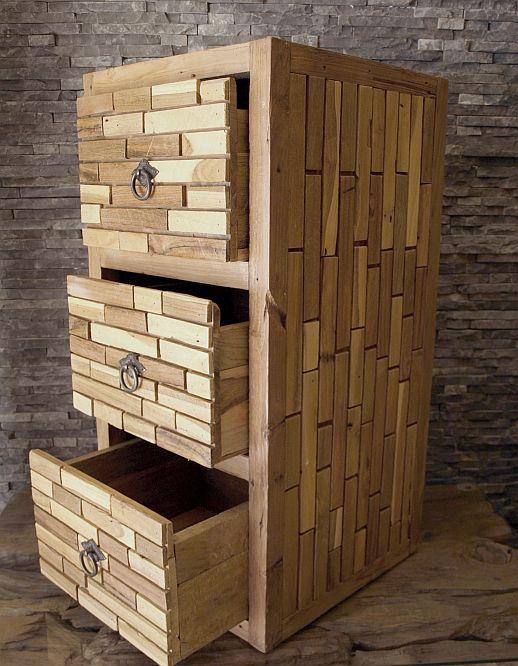 treibholz rec teak vintage shabby kommode nachttisch schrank massiv b 40 h 80cm ebay. Black Bedroom Furniture Sets. Home Design Ideas