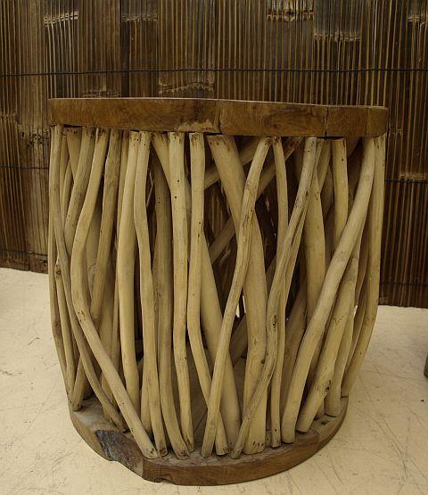 rec teakholz tisch couchtisch kaffeetisch display massiv holz d 50cm h 51cm ebay. Black Bedroom Furniture Sets. Home Design Ideas