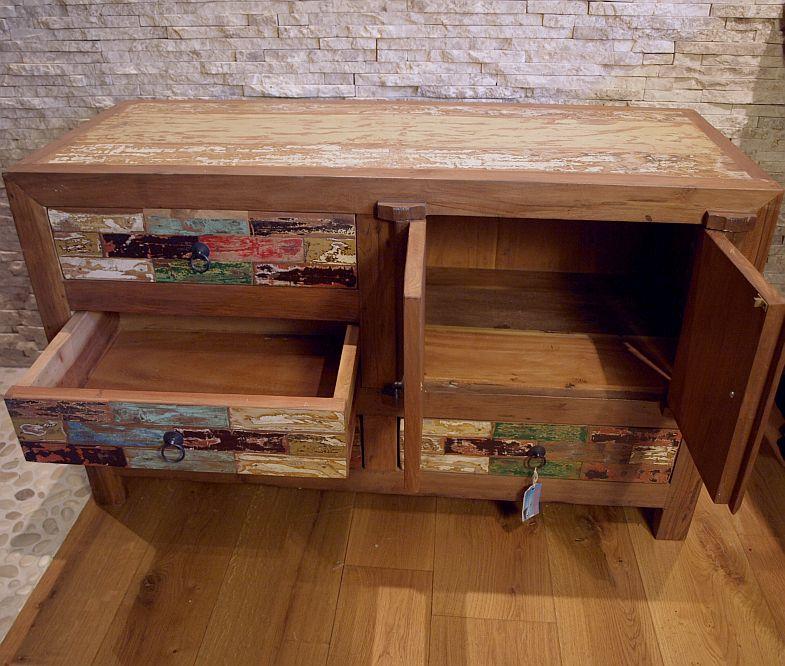recycled teakholz bootsholz sideboard highboard kommode shabby chic vintage tm15 ebay. Black Bedroom Furniture Sets. Home Design Ideas