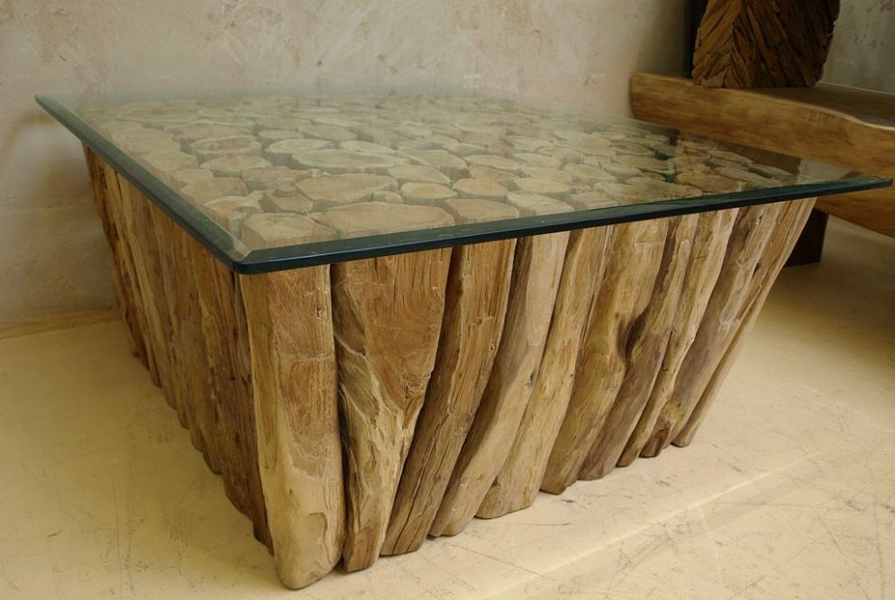 rec teakholztisch inkl glasplatte teak couchtisch 90x90x43cm holz tisch tt04 ebay. Black Bedroom Furniture Sets. Home Design Ideas